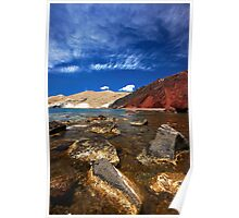 red beach and blue sky Poster