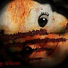 Happy Halloween Greeting Card #2 (using the face of a doll) by Scott Mitchell