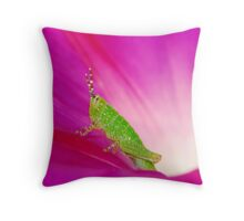 grasshopper with morning glory Throw Pillow