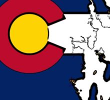 Rhode Island outline Colorado flag Sticker