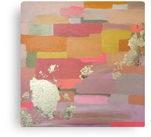 Searching - inspired by color & shine. acrylic and gold leaf on wood. hipster boho pink coral orange block art original ready to hang lovely Canvas Print