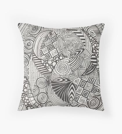 Black doodle Throw Pillow