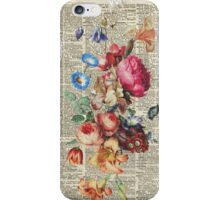 Bunch Of Flowers Over Old Book Page iPhone Case/Skin
