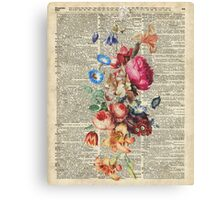 Bunch Of Flowers Over Old Book Page Canvas Print