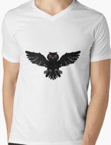 Black Owl 2 Mens V-Neck T-Shirt