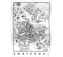 Amsterdam Map Schwarzplan Only Buildings Poster