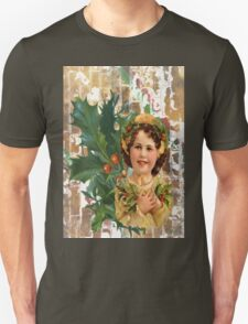 Victorian Merry Christmas Holly Girl T-Shirt