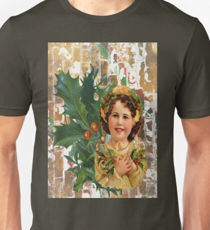 Victorian Merry Christmas Holly Girl Unisex T-Shirt