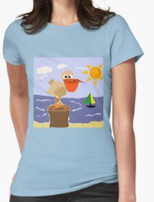Funny Pelican and Sun Beach Art T-Shirt