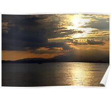 Sun rays on the lake Poster