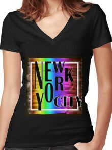 New York typography Women's Fitted V-Neck T-Shirt