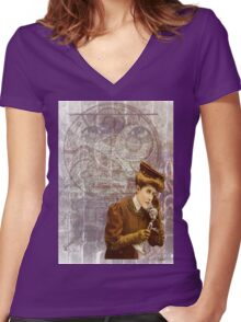 Steam Punk Lady Telephone Gears Women's Fitted V-Neck T-Shirt