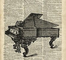 Old Vintage Grand Piano Over Dictionary Page by DictionaryArt