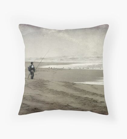 Just me, the sea and the gulls Throw Pillow