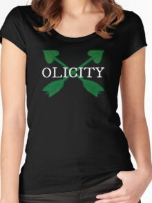 Olicity - Crossing Green Heart Arrows Women's Fitted Scoop T-Shirt
