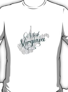 West Virginia State Typography T-Shirt
