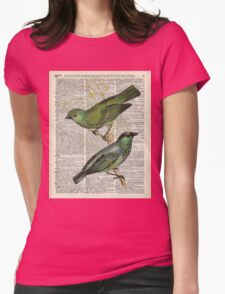 Green Canary Brds Over Vintage Book Page Womens Fitted T-Shirt