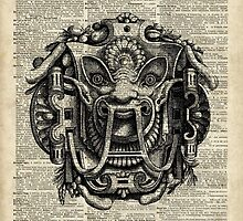 Grotesque Antique Greek Mask Over Old Book Page by DictionaryArt