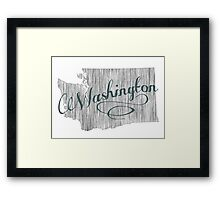 Washington State Typography Framed Print