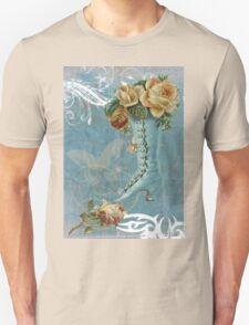Victorian Aqua Rose Ladies Boot T-Shirt