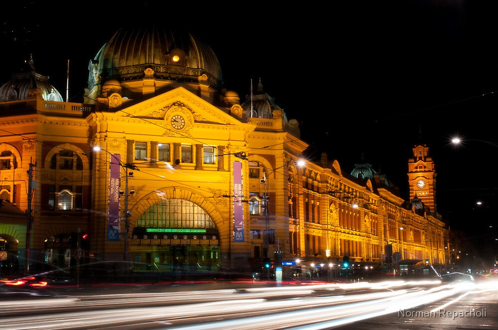 9:45 at Flinders Street Station - Melbourne by Norman Repacholi