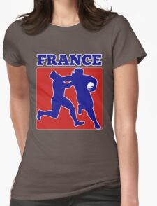 France rugby player running tackling with ball Womens Fitted T-Shirt