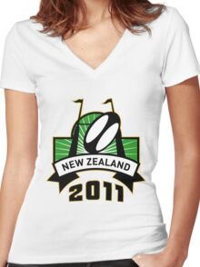 rugby ball goal post new zealand Women's Fitted V-Neck T-Shirt