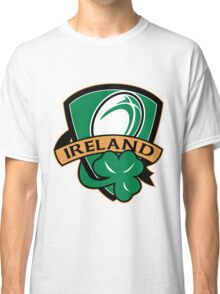 rugby ball with shamrock clover leaf inside shield Classic T-Shirt