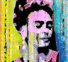 Frida Kahlo - Mixed Media with Newspaper by Cphif