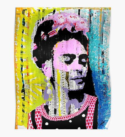 Frida Kahlo - Mixed Media with Newspaper Poster