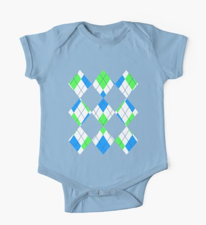 Blue And Green Argyle One Piece - Short Sleeve