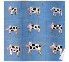 Nine happy cows. Poster