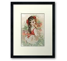 Victorian Peach Coral Floral Girl Framed Print