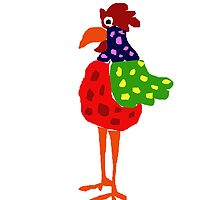 Cheerful Brightly Colored Rooster Original Art by naturesfancy