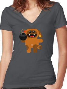 DOG 4 (Cute pet has a bomb and its alight!) Women's Fitted V-Neck T-Shirt