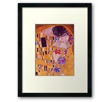 The Kiss - Gustav Klimt - Blue Highlights Framed Print