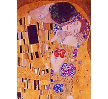 The Kiss - Gustav Klimt - Blue Highlights Photographic Print