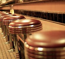 The Old Chrome and Salmon Tiles at the Diner by kelleygirl