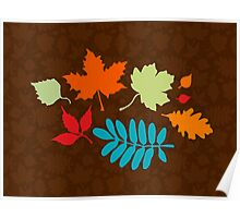 Colorful Leaves Pattern Poster