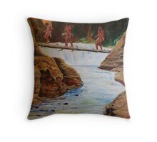 Waterfall crossing Throw Pillow
