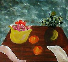 Table with bowl of apples and flowers, watercolor by Anna  Lewis