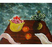 Table with bowl of apples and flowers, watercolor Photographic Print