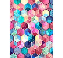Topaz & Ruby Crystal Honeycomb Cubes Photographic Print