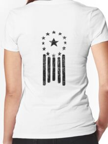 Old World American Flag [BLACK] Women's Fitted V-Neck T-Shirt