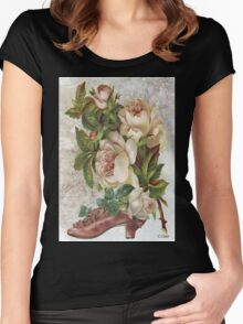 Victorian Pink White Rose Vintage Shoe Women's Fitted Scoop T-Shirt