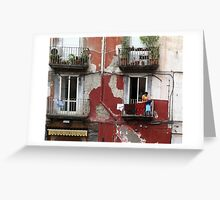 Washday In Naples, Italy. Greeting Card