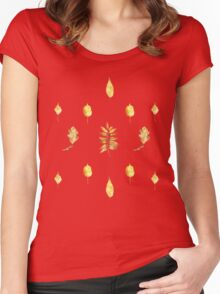 Autumn Leaves Pattern On White Women's Fitted Scoop T-Shirt