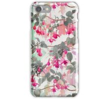 Rainbow Fuchsia Floral Pattern - with grey iPhone Case/Skin