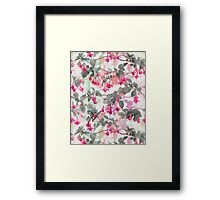 Rainbow Fuchsia Floral Pattern - with grey Framed Print