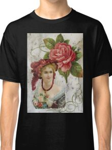 Victorian Red Rose Feather Hat Classic T-Shirt